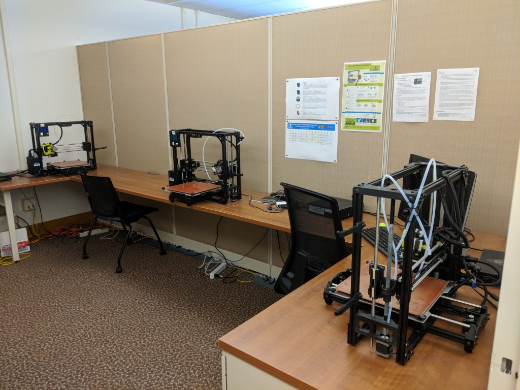 The 3D Printing Lab, featuring three LulzBot TAZ 5 3D printers