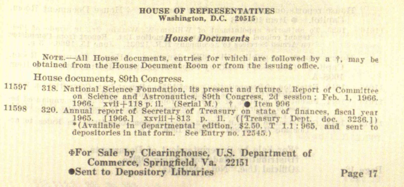 HOUSE OF REPRESENTATIVES, House Documents