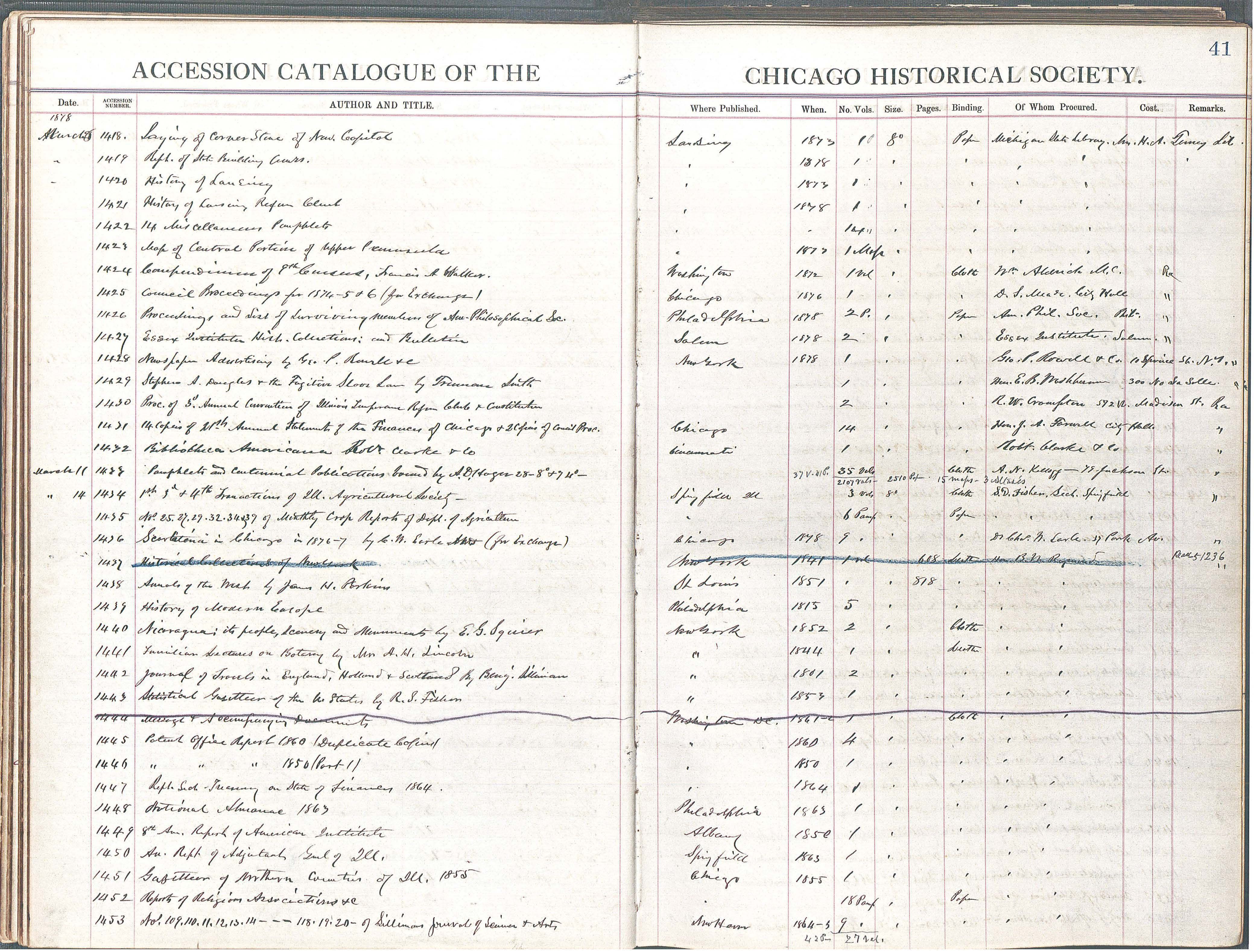 Chicago Historical Society Accession Ledger for March 11, 1878