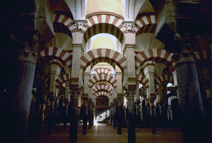 "The interior of the Mosque of Cordoba, Spain. This medieval Islamic mosque, which was converted to a Catholic cathedral, is also known as ""La Mezquita."" Photo: by Steven J. Dunlop from Nerstrand, MN [CC-BY-SA 3.0] via Wikimedia Commons"
