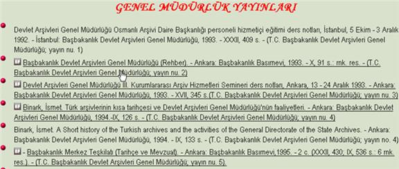 Partial Screenshot of Entries under General Directorate (GENEL MUDURLUK YAYINLARI)