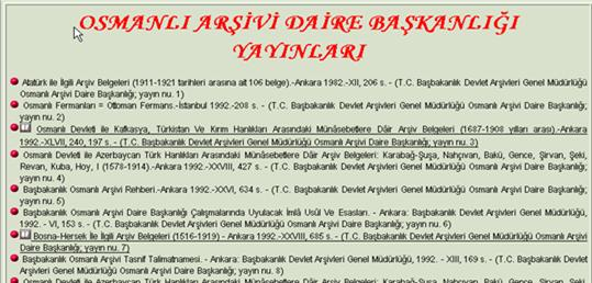 Excerpt of entries under Ottoman Archives (OSMANLI ARSIVI DAIRE BASKANLIGI YAYINLARI)