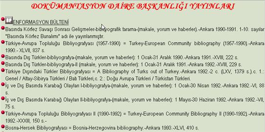 Excerpt of entries under RDocumentations (DOKUMANTASYON DAIRE BASKANLIGI YAYINLARI)
