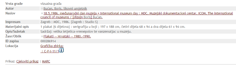 Example record from Croatian National Llibrary