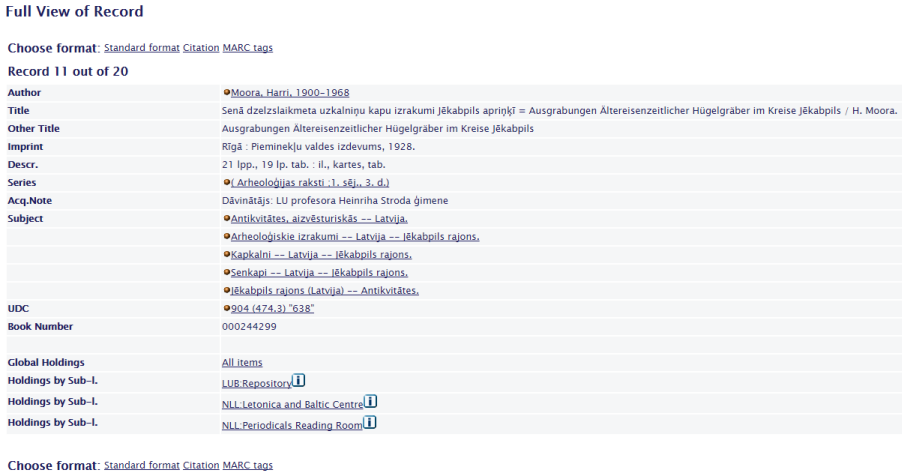 Screenshot of catalog record from Latvian National Library