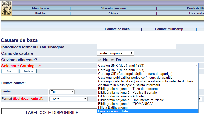 Screenshot of the catalog options from the Romanian National Library