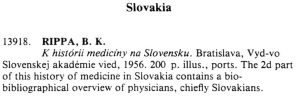 The entry on Medicine - Slovakia