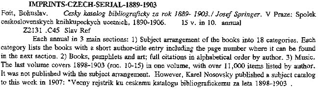 The entry for the Czech bibliography by Foit