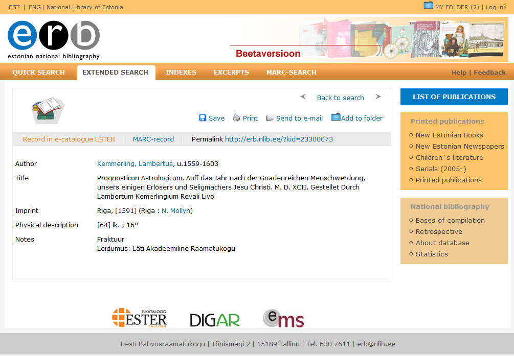 Example of an entry in Estonian National Bibliography Database