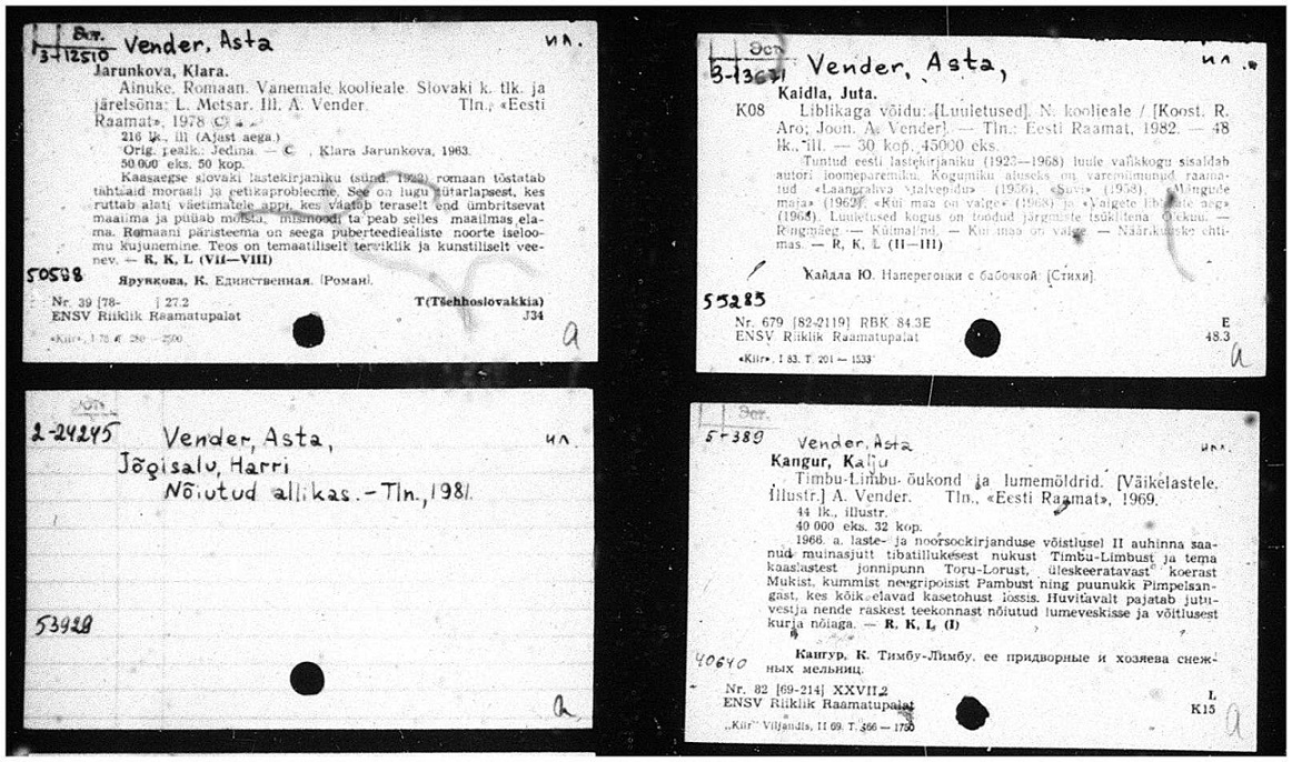 Example of cards from Russian National Library Estonian catalog