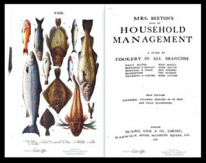 Screenshot showing two-page spread. Left page includes illustrations of various fish. Right page includes title page.