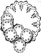 sketch of embroidered centerpiece and plate doilies