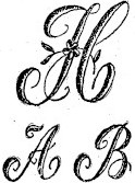 sketch of monogrammed embroidered letters