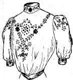 sketch of embroidered shirtwaist