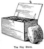 sketch of hay stove with pillow