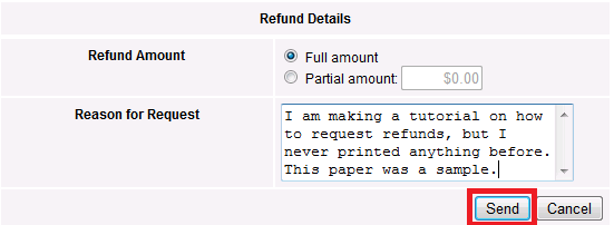 papercut refund details screen