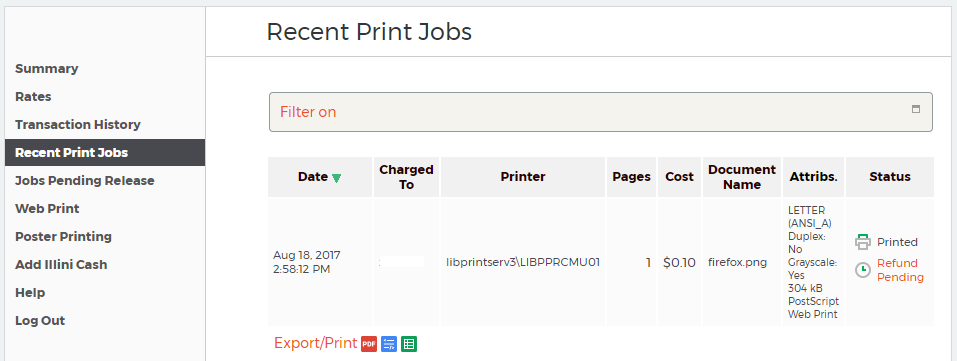 print refunds library technology u of i library