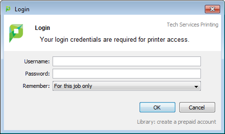 when the papercut login box pops up enter your netid and active directory password then click ok - Account Technology