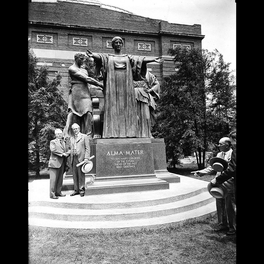 President David Kinley and Lorado Taft in front of Taft's 'Alma Mater' during the sculpture's dedication.