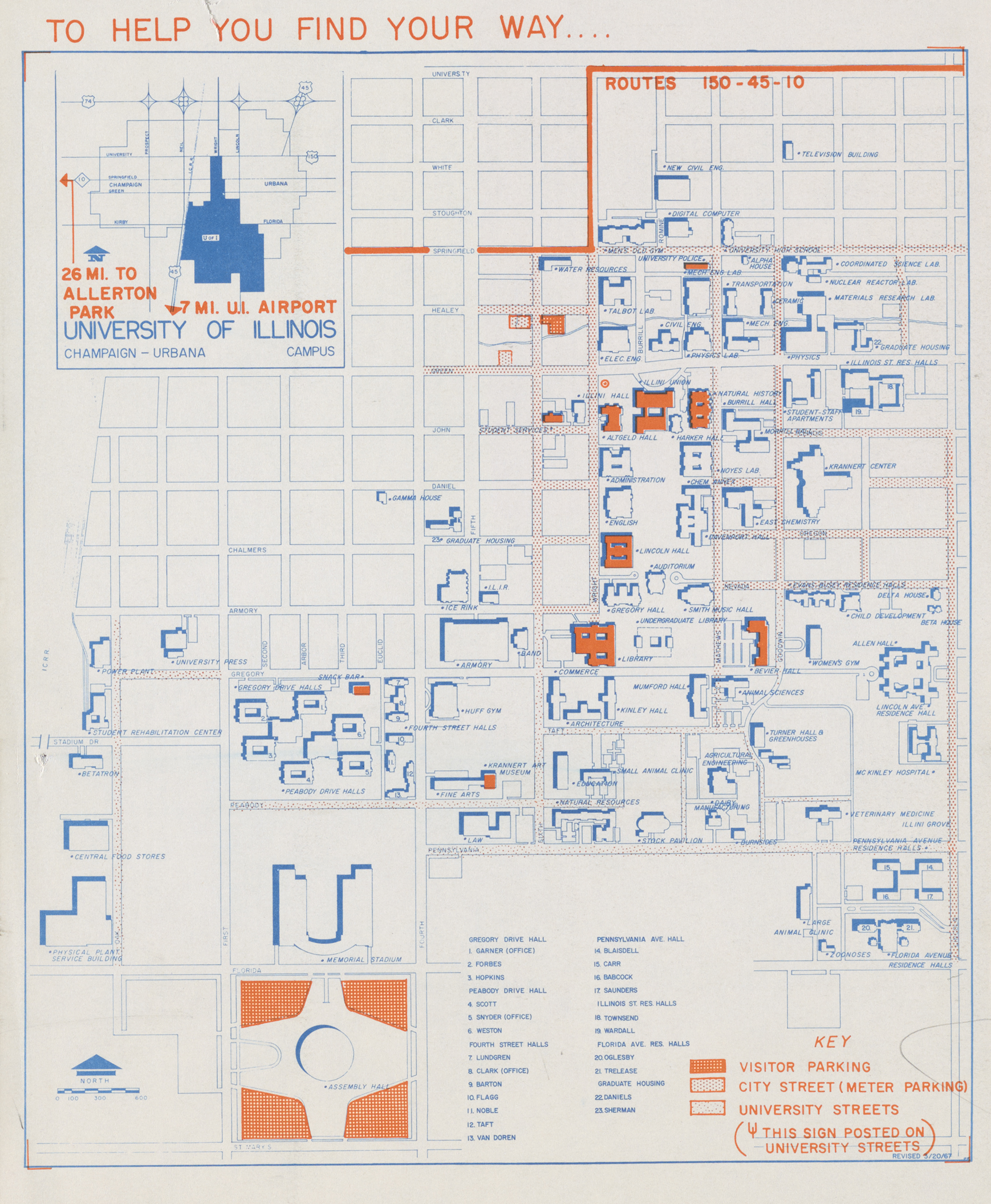 University Of Illinois Map Campus Map, 1967 | Digital Collections at the University of