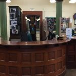 Circulation Desk, Front View, Courtesy of Becky Burner