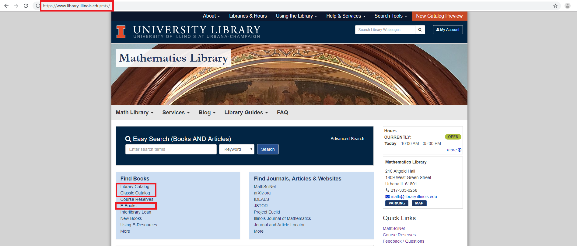 Red rectangles highlight the URL for the Mathematics Website and links to the Library Catalog, Classic Catalog, and the E-Books page.