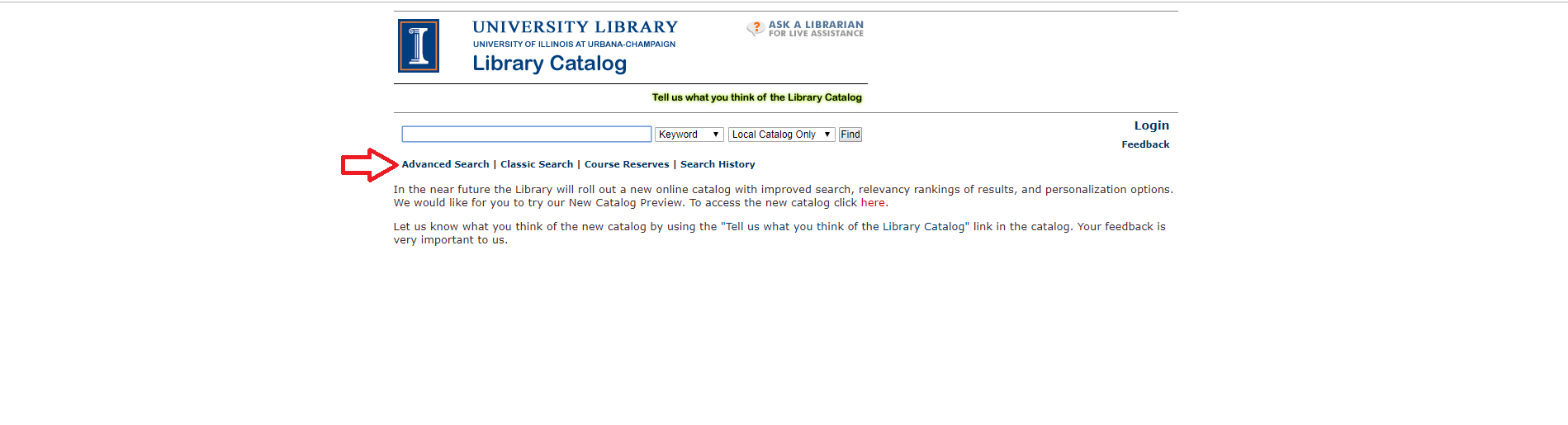 A red arrow points to the Advanced Search option on the Library Catalog homepage