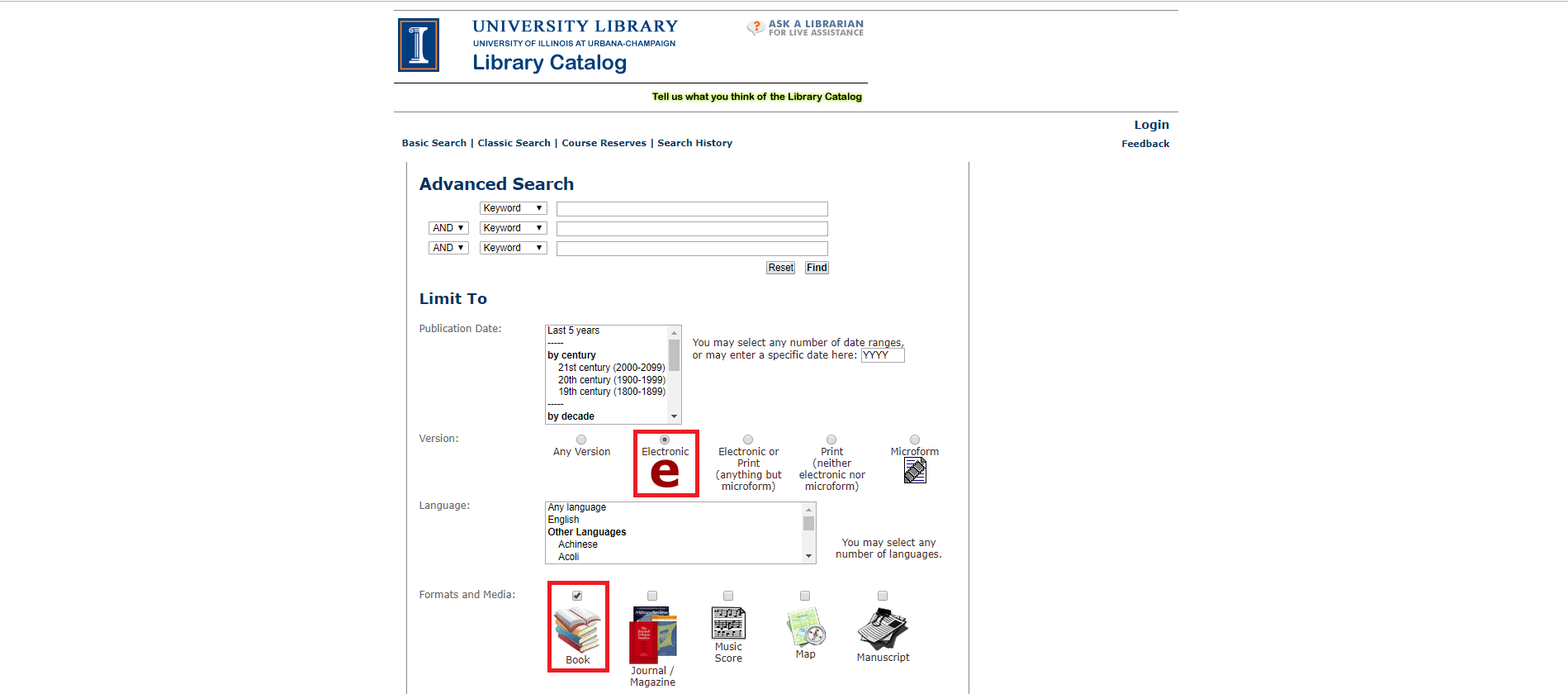 Red rectangles highlight the Electronic and Book options on the Advanced Search page of the Library Catalog