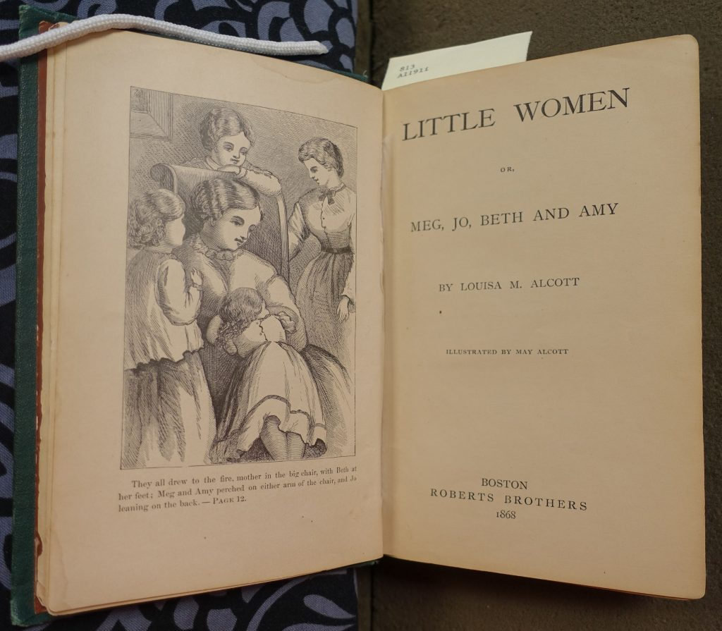 "A spread of the title page and frontispiece of ""Little Women"""