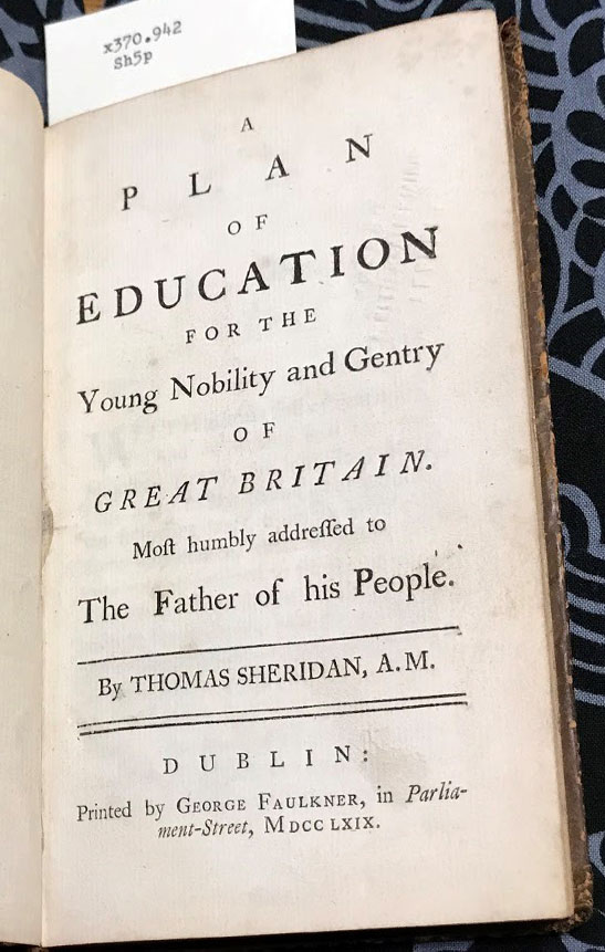 Title page of Plan of Education for the young nobility and gentry of Great Britain