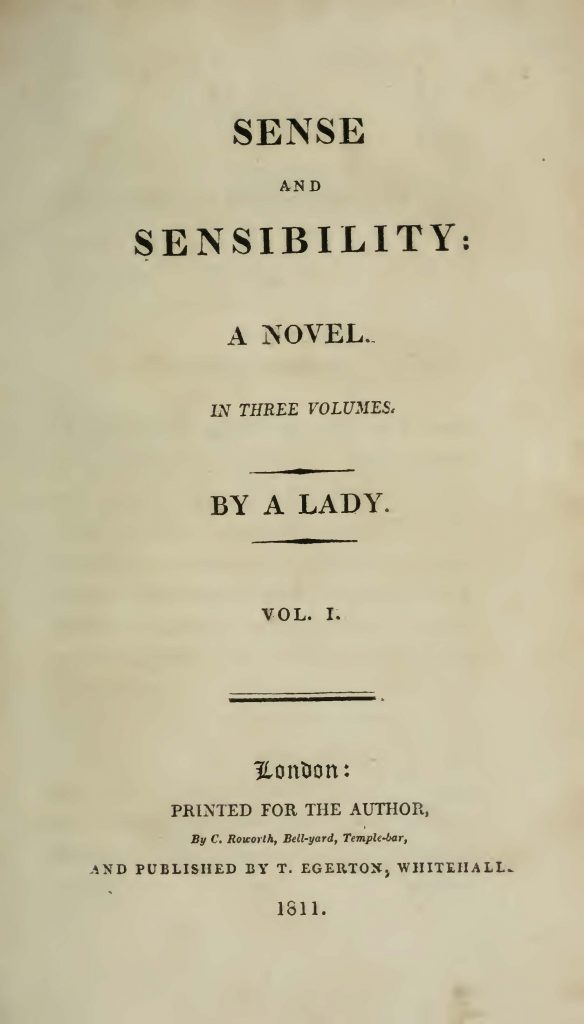 "The title page from the first edition of ""Sense and Sensibility"""