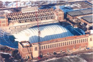 Aerial of Memorial Stadium Restoration, circa 1993