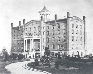 "The first university building known as ""The Elephant"" by students, circa 1870"