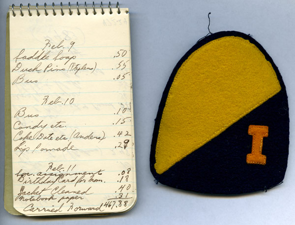 Allan Hicks' senior expense book and cavalry patch, 1942