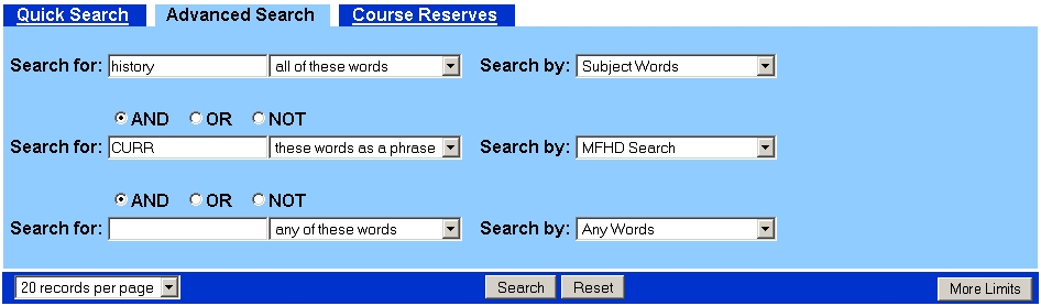 Curriculum Advances Search with MFHD Search