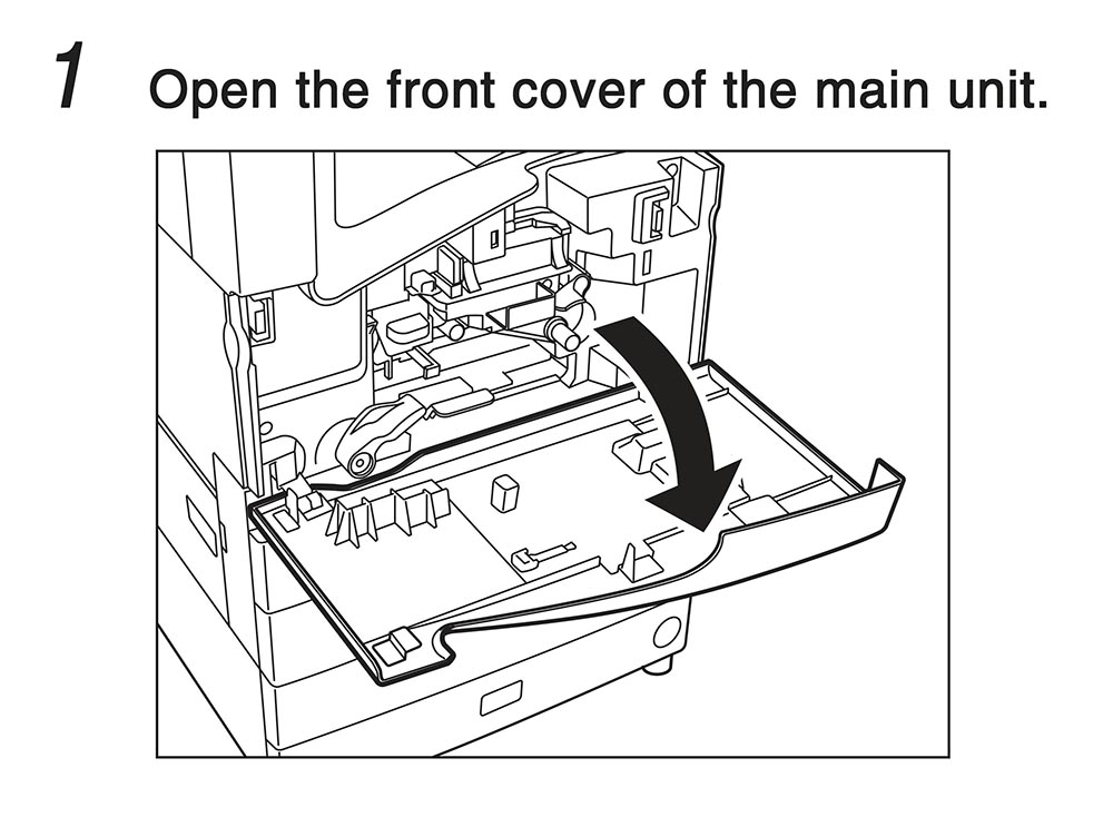 1. Open the front cover of the main unit.
