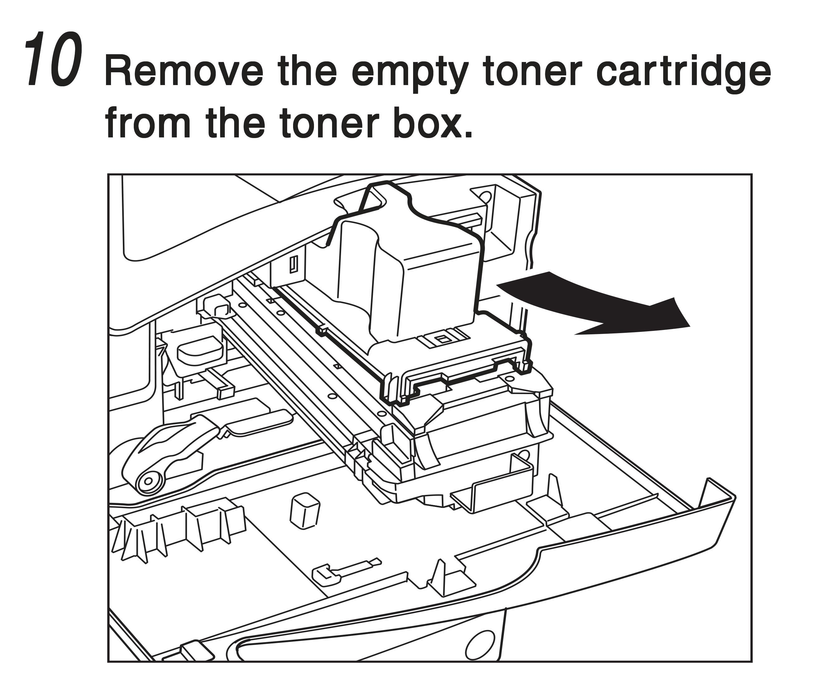 10. Remove the empty toner cartridge from the toner box.