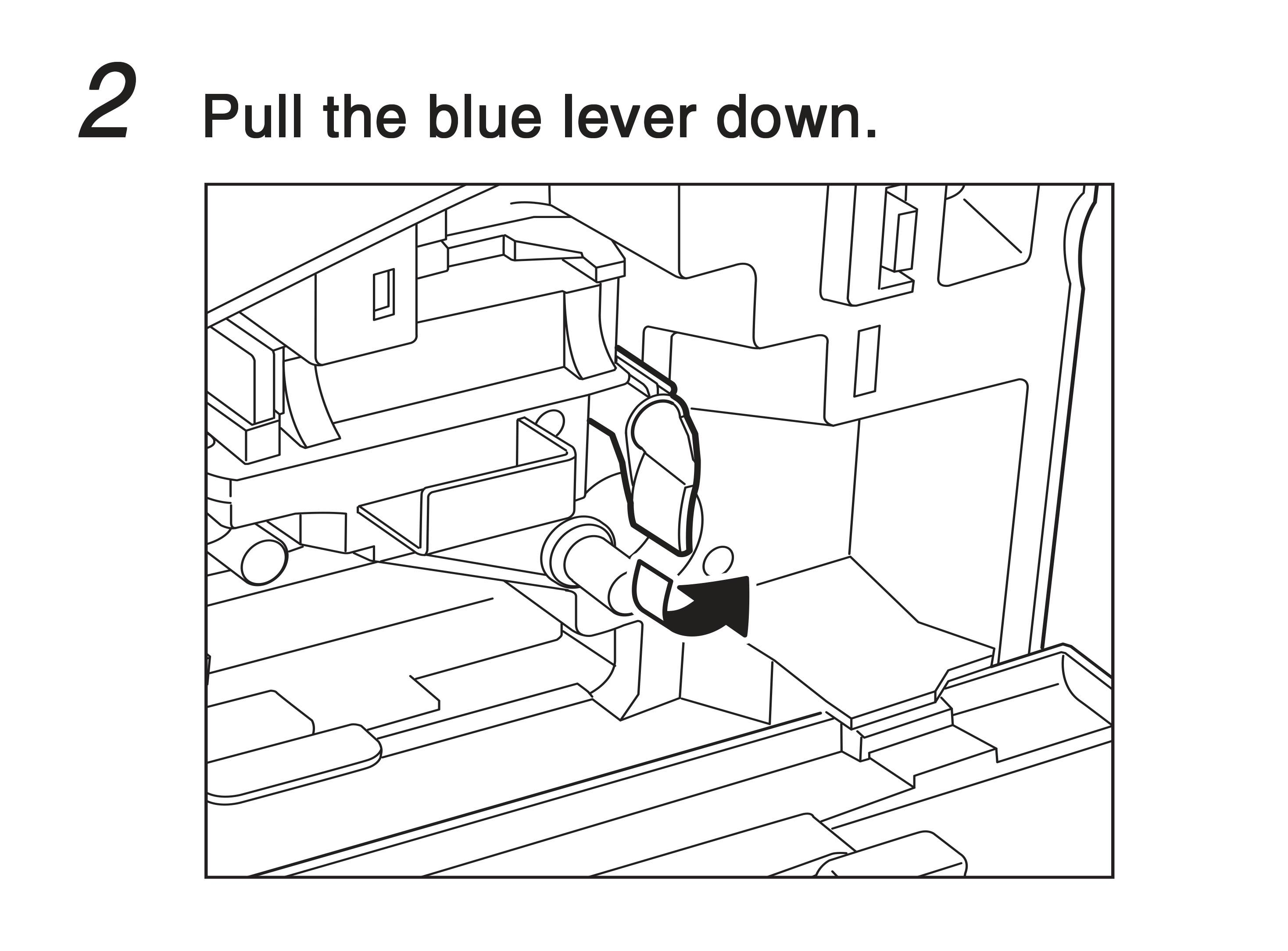2. Pull the blue lever down.