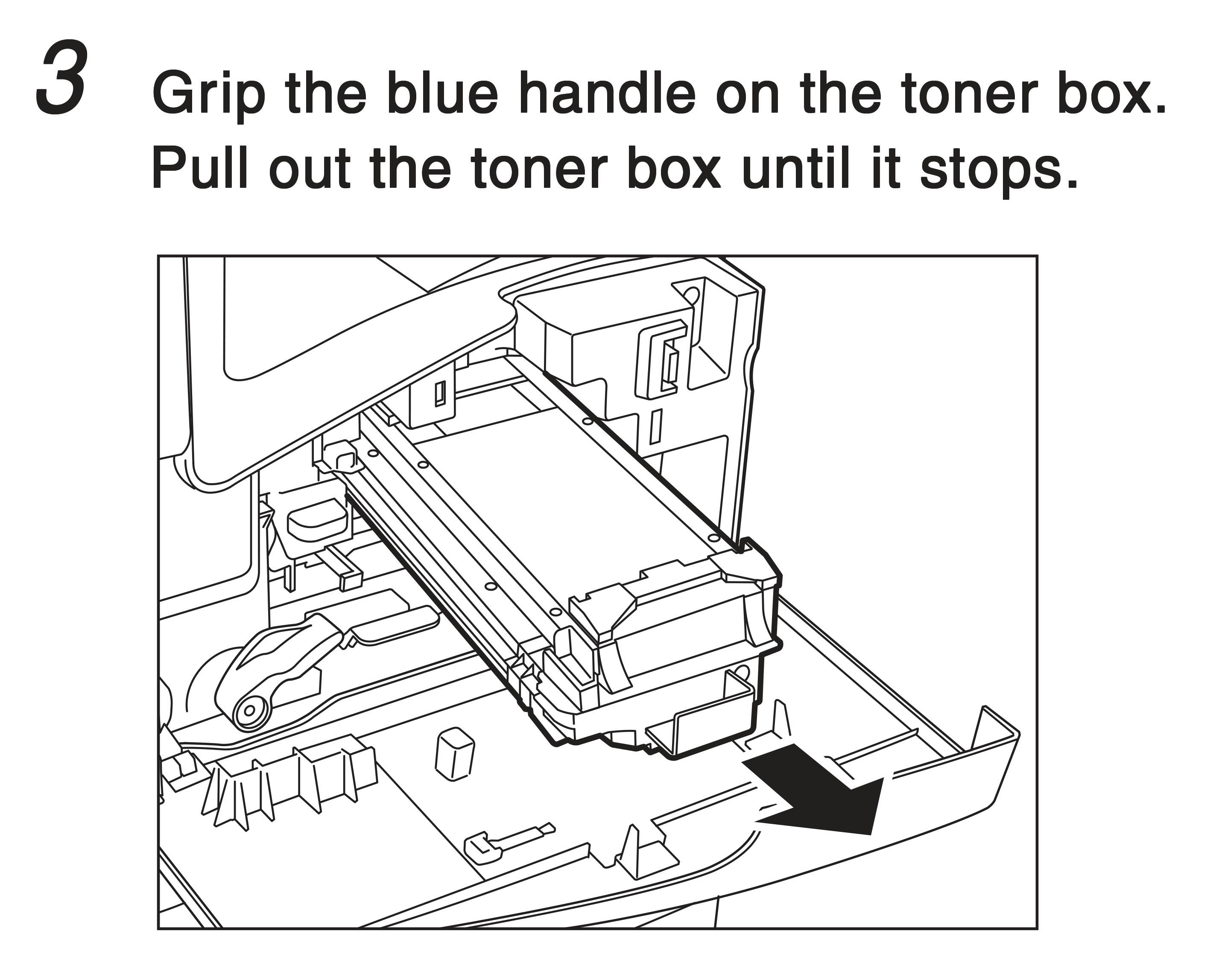 3. Grip the blue handle on the toner box. Pull out the toner box until it stops.