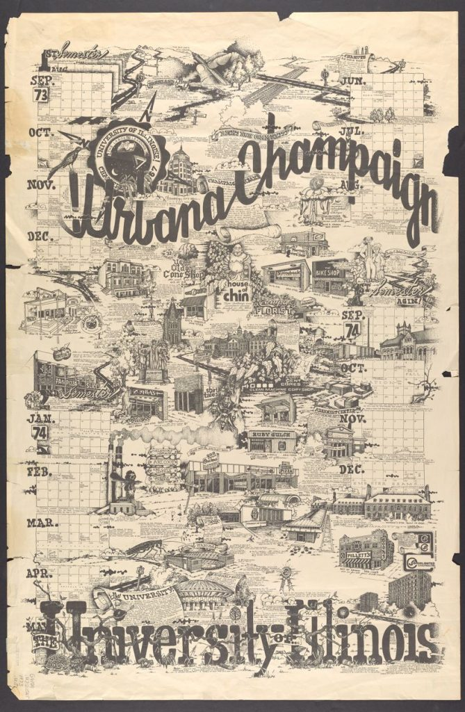 Urbana-Champaign, University of Illinois old map