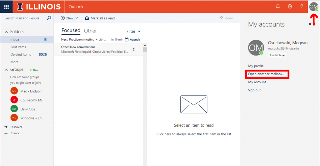screenshot of Outlook Online pointing out where to click