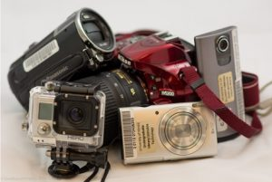 Image of several cameras and devices