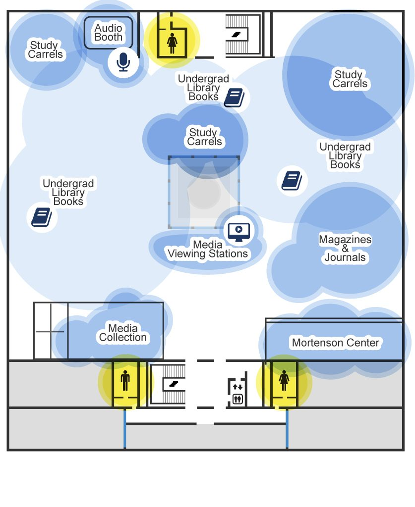 Map showing the layout of the lower level of the undergraduate library