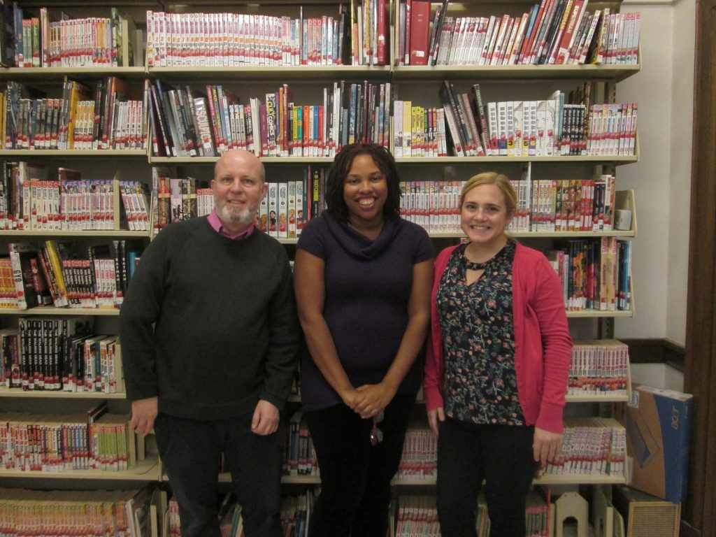 Uni High Library Staff - from left to right: Paul, Ms. Arnold, Vicki