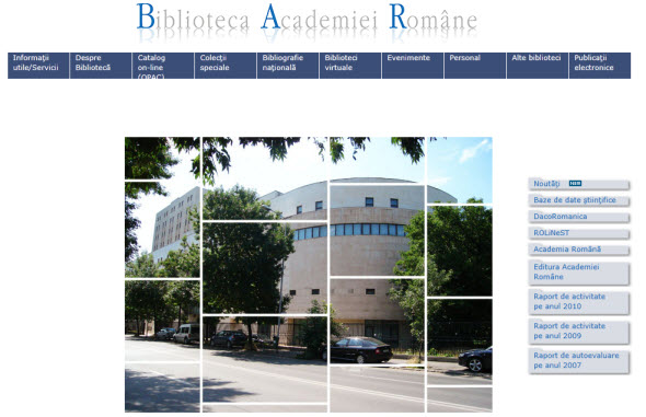 Home page of the Romanian Academy Library
