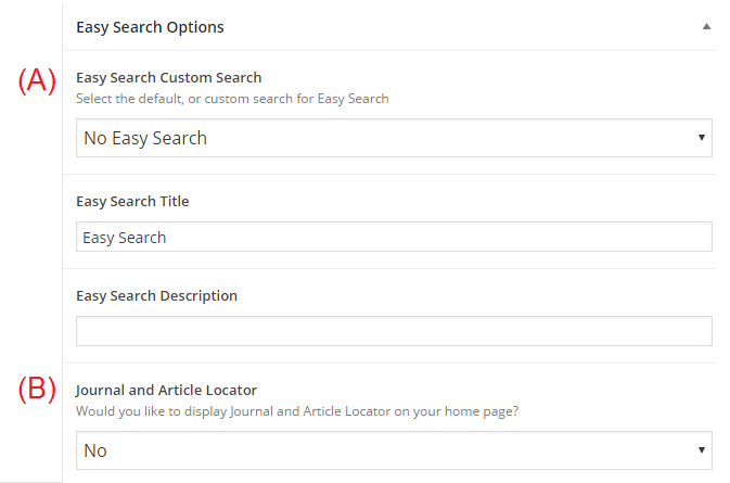 "Fig. 3: Displaying ""Easy Search"" (A) and ""Journal and Article Locator (B) on the Homepage."