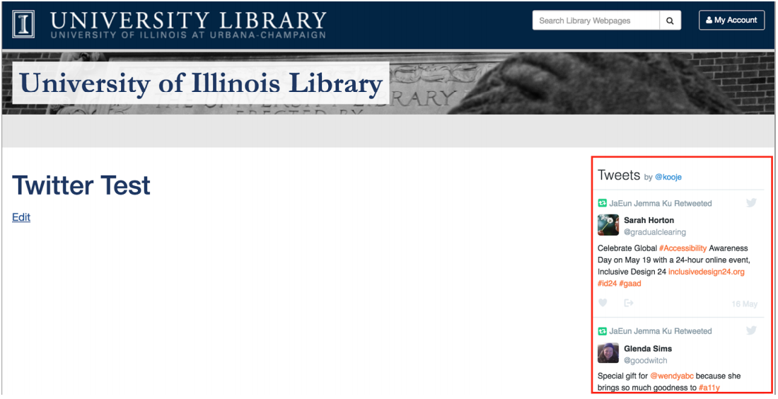 Embedding Twitter in the Sidebar – WordPress Training – U of I Library